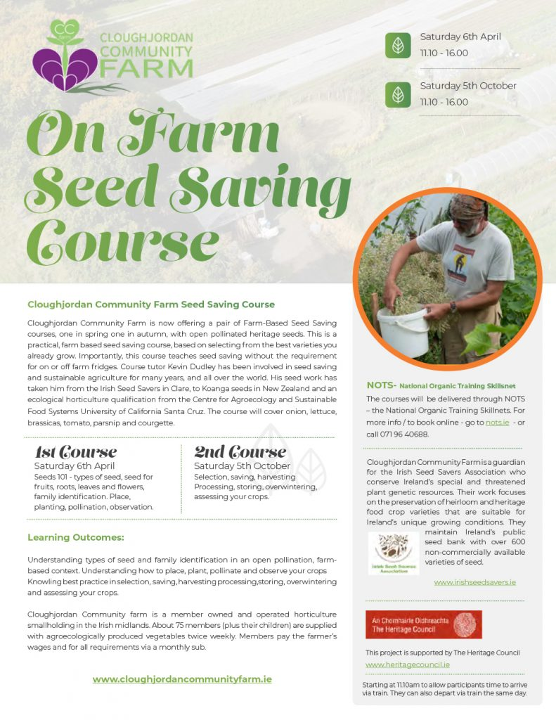 On Farm Seed Saving Course – 6th April, 5th October